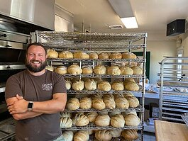 Justin Raha owns the downtown Grand Haven bakery, Grand Finale Desserts and Pastries.
