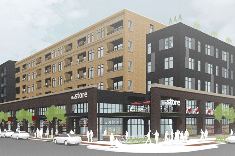 The incoming Meijer store and apartments coming to Bridge and Stocking.