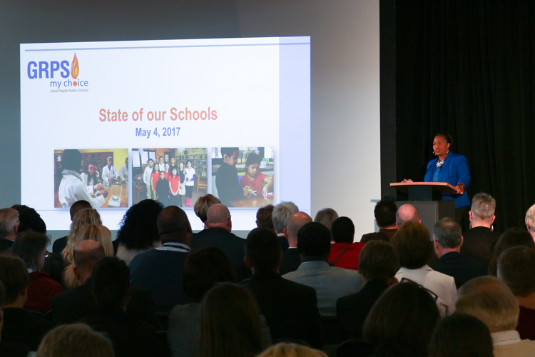 GRPS Superintendent Teresa Weatherall Neal speaks at the state of the schools address.