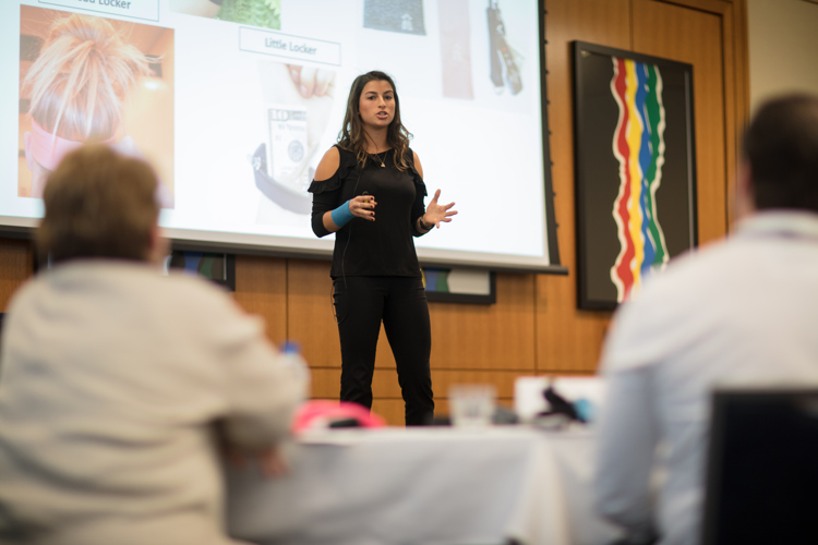 Katarina Samardzija pitches her company Locker Lifestyle LLC at a business pitch competition.