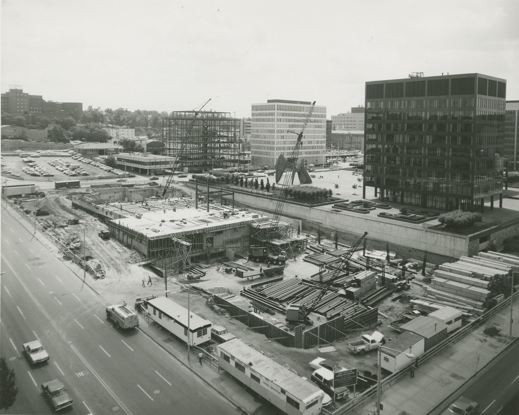 Construction on the city administration building and Calder Plaza.
