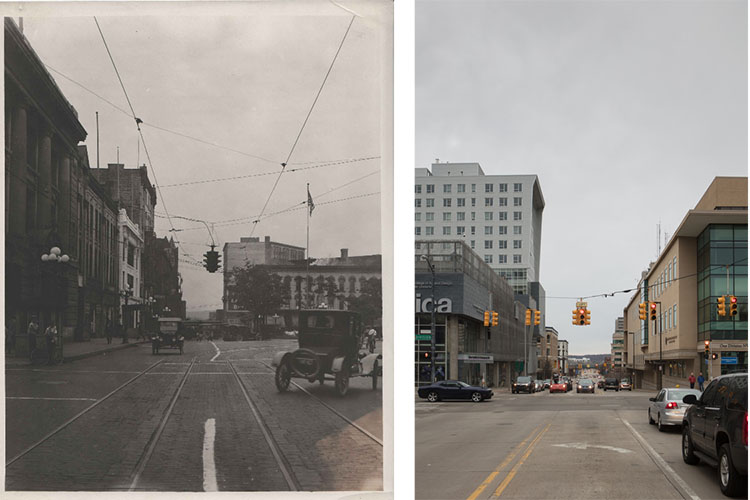 1920s Fulton and Sheldon Intersection. Looking west on Fulton Street at Sheldon and Monroe Center.