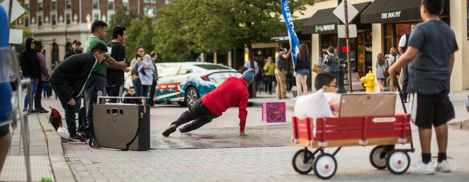 Break dancers bring out the beats and the moves at Rosa Parks Circle.