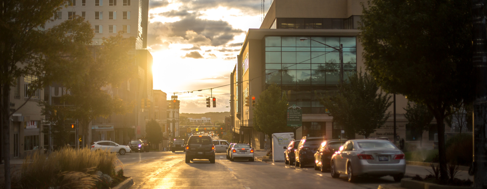 The sun sets over downtown as summer slips into fall.