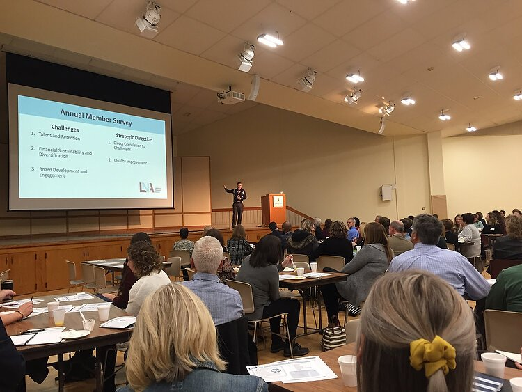 LNA Executive Director Patrick Cisler presented the first nonprofit community assessment to the group's members in late 2019.
