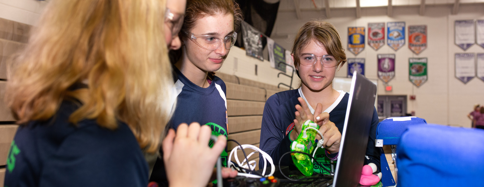 Students and their robots compete against each other in WM's Annual Girls Robotics Competition.