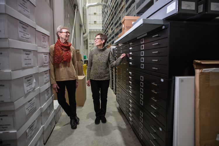 Linda Powell, right, and Barbara Loveland, left, in the WM Design Archives.