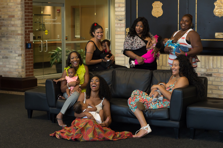 Participants in the HUGS breastfeeding support group at Strong Beginnings.