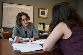 Debra Chopp and law student Esther Vinarov.