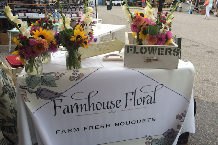 Farmhouse Floral flowers grown and arranged by Pearl Daskam of Ubly at the Port Austin Famers Market