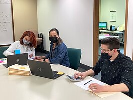 Good Samaritan Ministries is administering the MSHDA COVID-19 eviction diversion program. Pictured (from left) are Good Sam team members Virgenmina Calo, Jessi Christensen, and Andrew Zokoe.