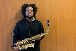 Hope College sophomore Houston Patton received the gift of a new saxaphone.
