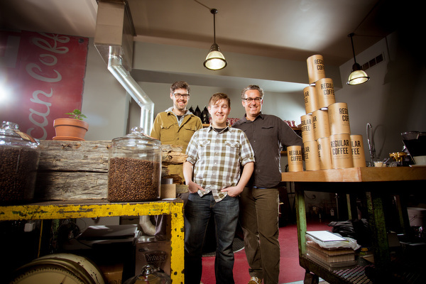 From left to right, Adam Foster, Steve Curtis and Kurt Stauffer, the coffee guys.