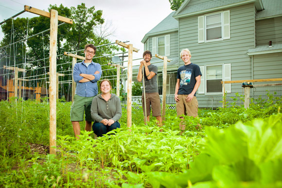 From left, Ron Wheaton, Jenny Bongiorno, Levi Gardner and Wendal Kane, urban farmers.