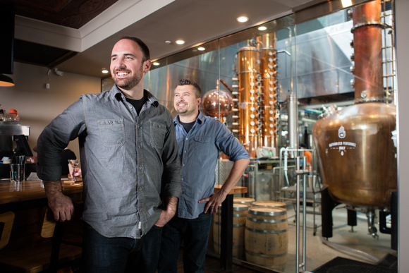 Kyle Vanstrien, left, and Jon O'Connor, right, of Long Road Distillers.