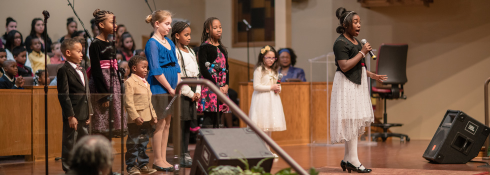 Children sing during a special MLK service at New Hope Baptist Church.