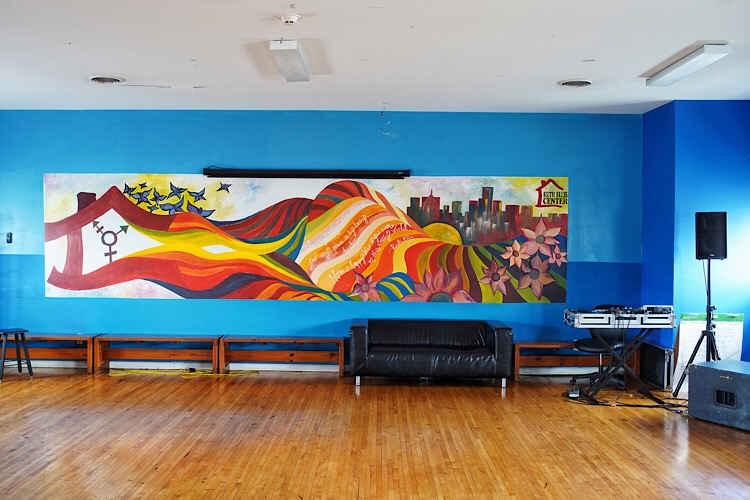 A mural in the recreation area at the Ruth Ellis Center.