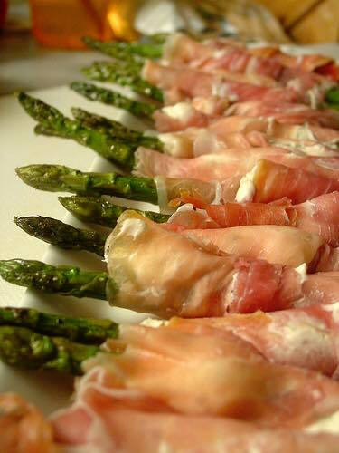 Prosciutto wraped Safie's pickled asparagus