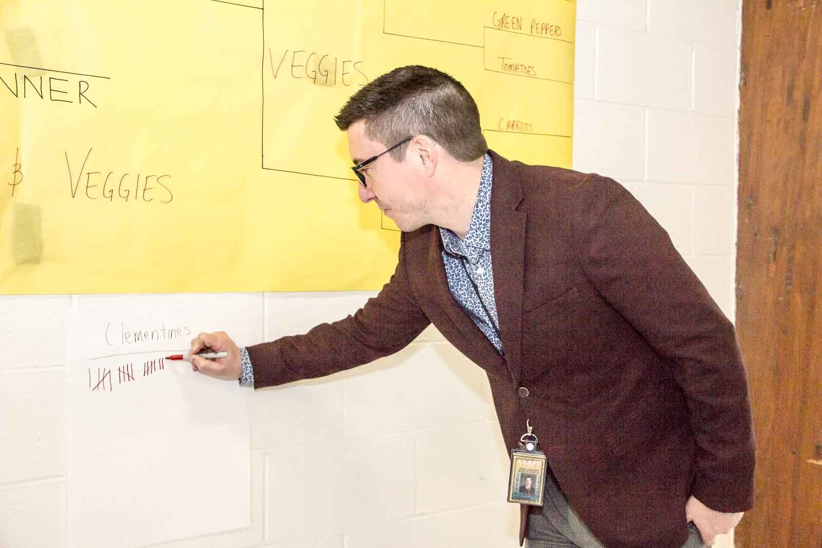 A Ring Lardner Middle School staffer records points for March Madness.