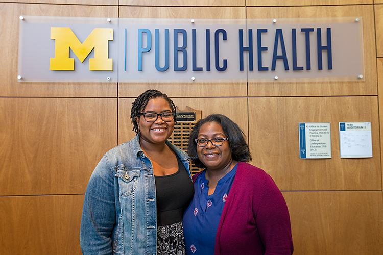 Former Future Public Health Leaders Program (FPHLP) student Sade Richardson with FPHLP director Dana Thomas.