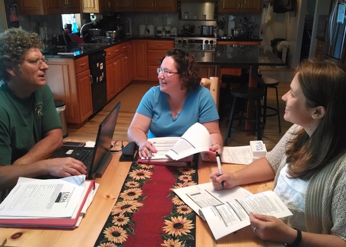 Greg Zimmerman, Ski Country Farm; Michelle Walk, MSU Extension; and Kristina Denison, Chippewa-Luce-Mackinac Conservation District meet during an internal audit visit for GroupGAP
