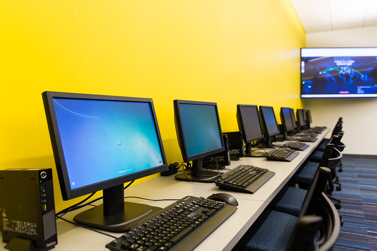 A computer lab at Walsh College in Troy