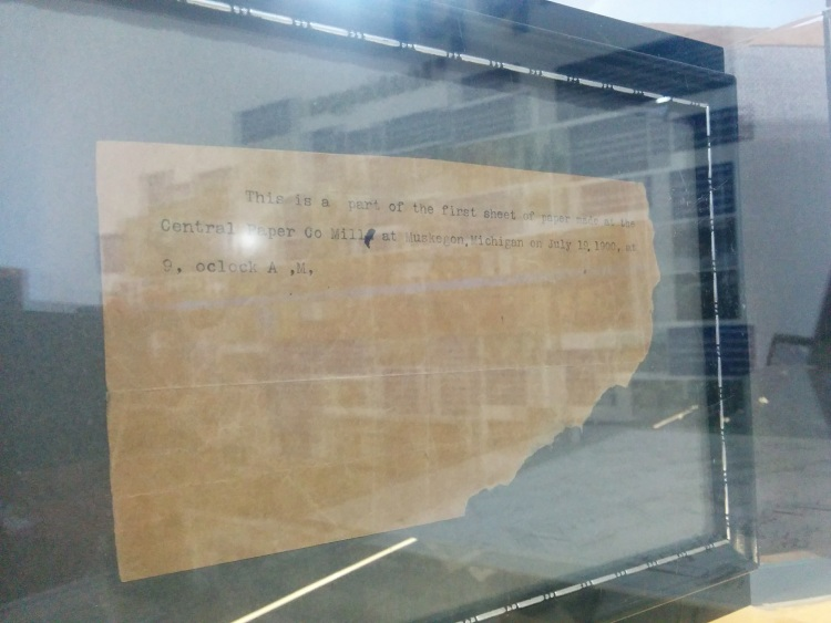 Part of the first piece of paper ever printed at the Central Paper Company mill on July 19, 1900.