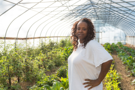Tameka Smith at McLaughlin Grows Urban Farm.